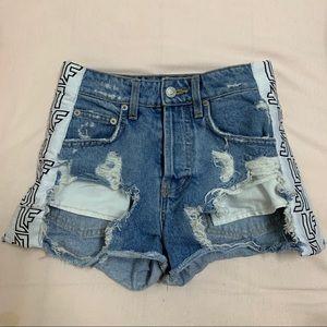 LF Carmar Distressed high waisted Denim shorts